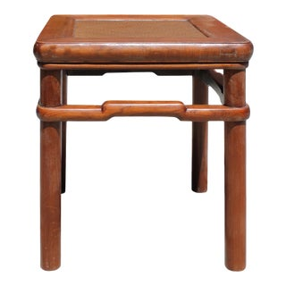 Chinese Handmade Vintage Finish Rattan Top Square Stool Table For Sale