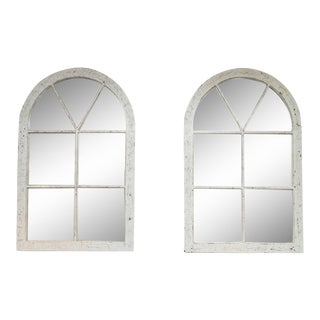 1880 English White Painted Industrial Windows - a Pair For Sale