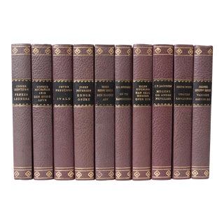 Scandinavian Leather-Bound Books S/10 For Sale