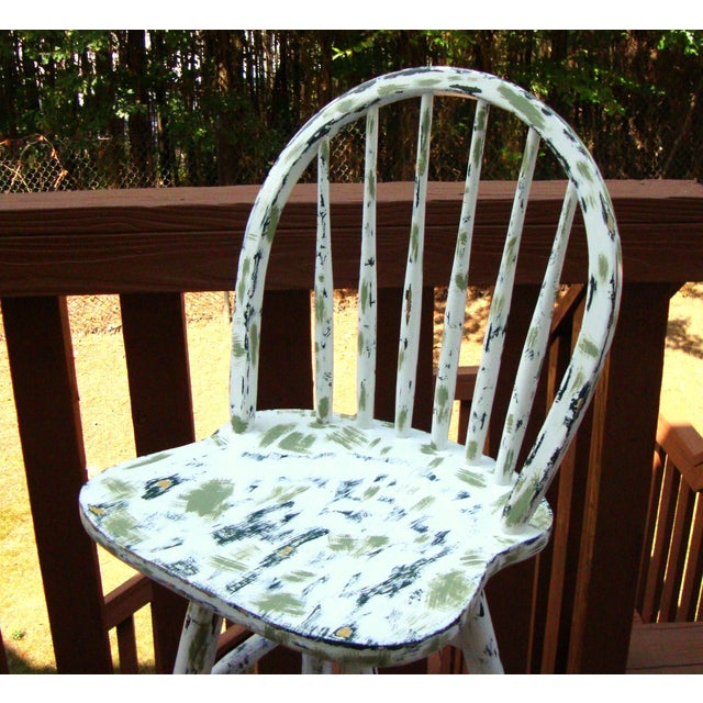 Country Cottage Hand Painted Distressed Bar Stool - Image 4 of 11