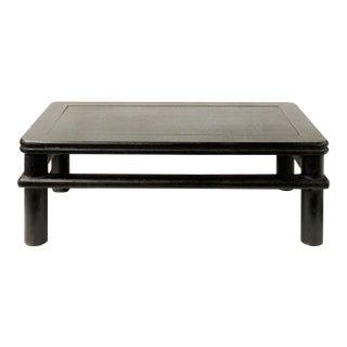 Dark Brown Rosewood Simple Oriental Round Legs Rectangular Display Table Stand For Sale