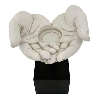 Modern Tms Open Hands Candle Holder Sculpture For Sale