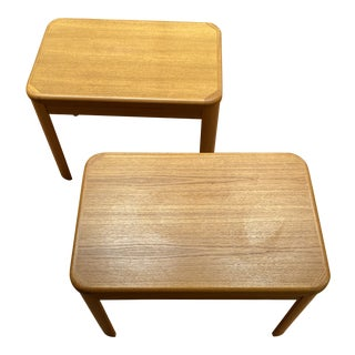 Solid Teak End Table Pair For Sale