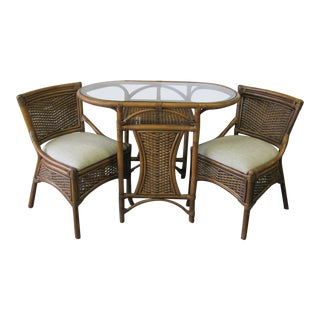 Vintage Mid Century Rattan & Wicker Breakfast Dining Set- 3 Pieces For Sale