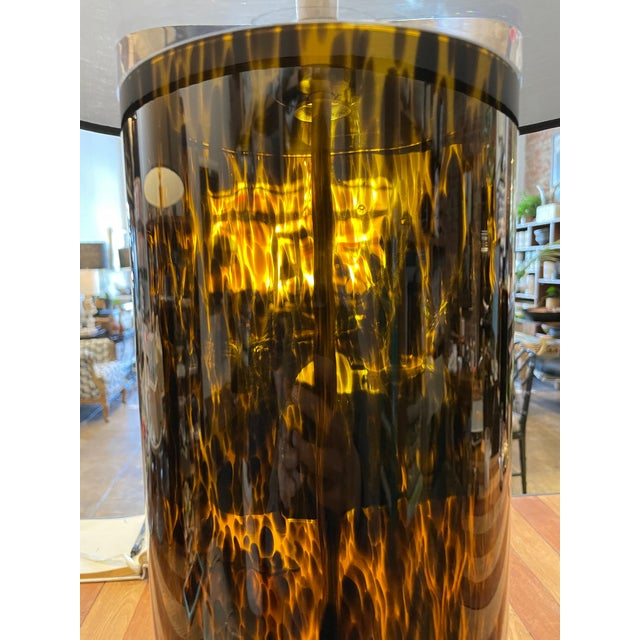 Mid-Century Modern Mid-Century Modern Lucite and Faux Tortoiseshell Italian-Made Glass Table Lamps For Sale - Image 3 of 9