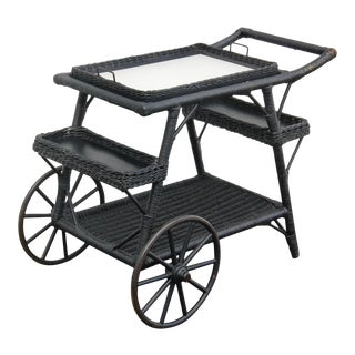 Antique Wicker Tea Cart For Sale