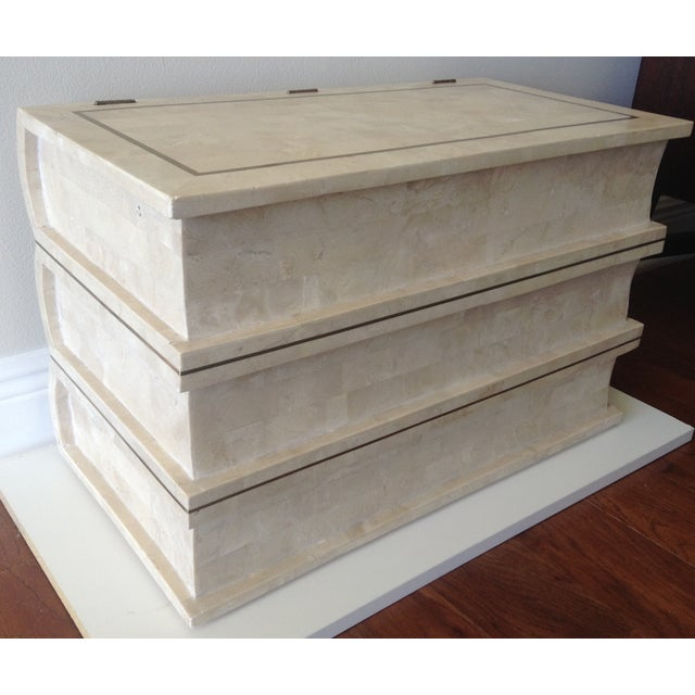 1970's gorgeous Maitland Smith Chest with tone on tone cremes and off white colorations of tessellated stone. Stacked...