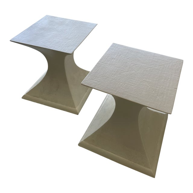 1970s Linen Wrapped Side Tables - a Pair For Sale