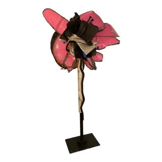 """1970s """"Papillons Sauvage (Wild Butterflies)"""" Series Steel Sculpture in Pink by Taira For Sale"""