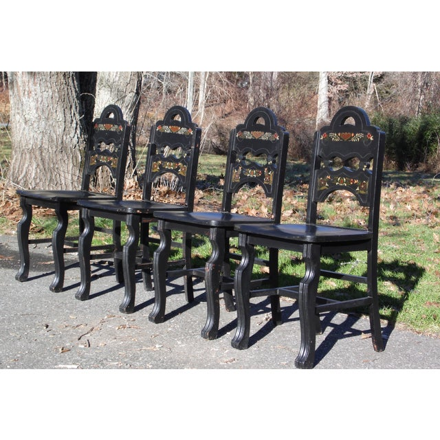 Vintage Set of 4 Art Deco Black Painted Amish Folk Art Style Dining Chairs For Sale In Providence - Image 6 of 12