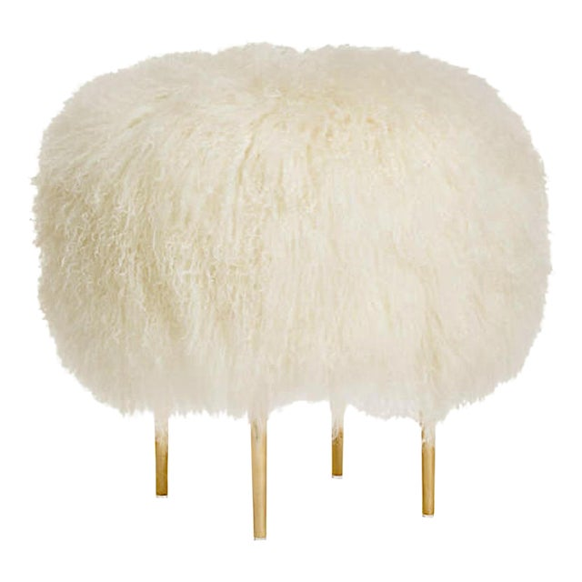"""Warm White Curly Rachel 24"""" Stool For Sale"""