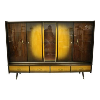 Mid Century Modern German Atomic Era Large China Display Cabinet Bar Unit For Sale