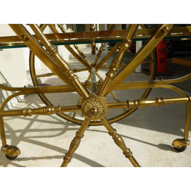 Mid-Century Hollywood Regency Brass Bar Cart For Sale - Image 4 of 12