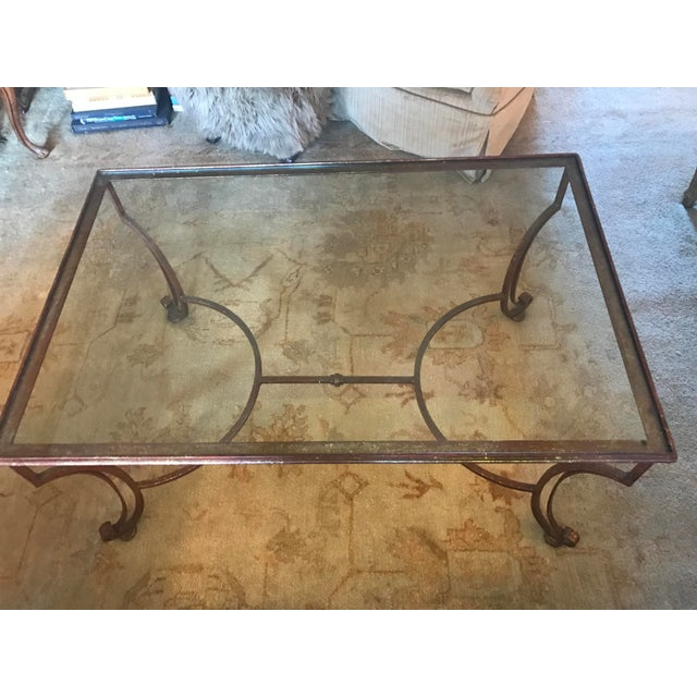 Large Rectangular Iron Glass Top Coffee Table - Image 2 of 7