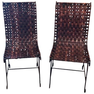 Pair of French Leather and Iron Chairs For Sale