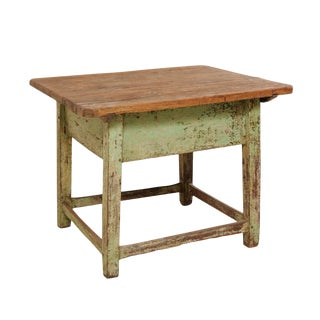 19th Century Rustic Side Table With Sliding Top and Original Paint For Sale