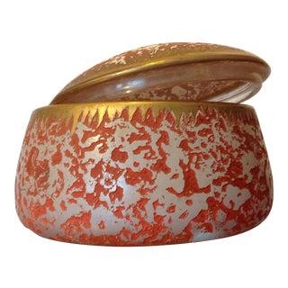 Vintage Orange Gold Lidded Glass Oval Trinket Box For Sale