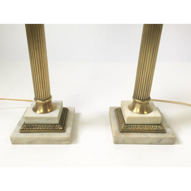 Italian Art Glass Brass Column Lamps - a Pair For Sale In Buffalo - Image 6 of 9