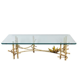 Mid-Century Coffee Table in Wrought Iron With Lotus Flower by Silas Seandel For Sale