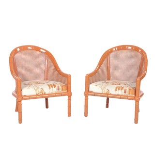 Vintage Mid Century Orange Lacquered Vintage Cane Bamboo Lounge Chairs- A Pair For Sale