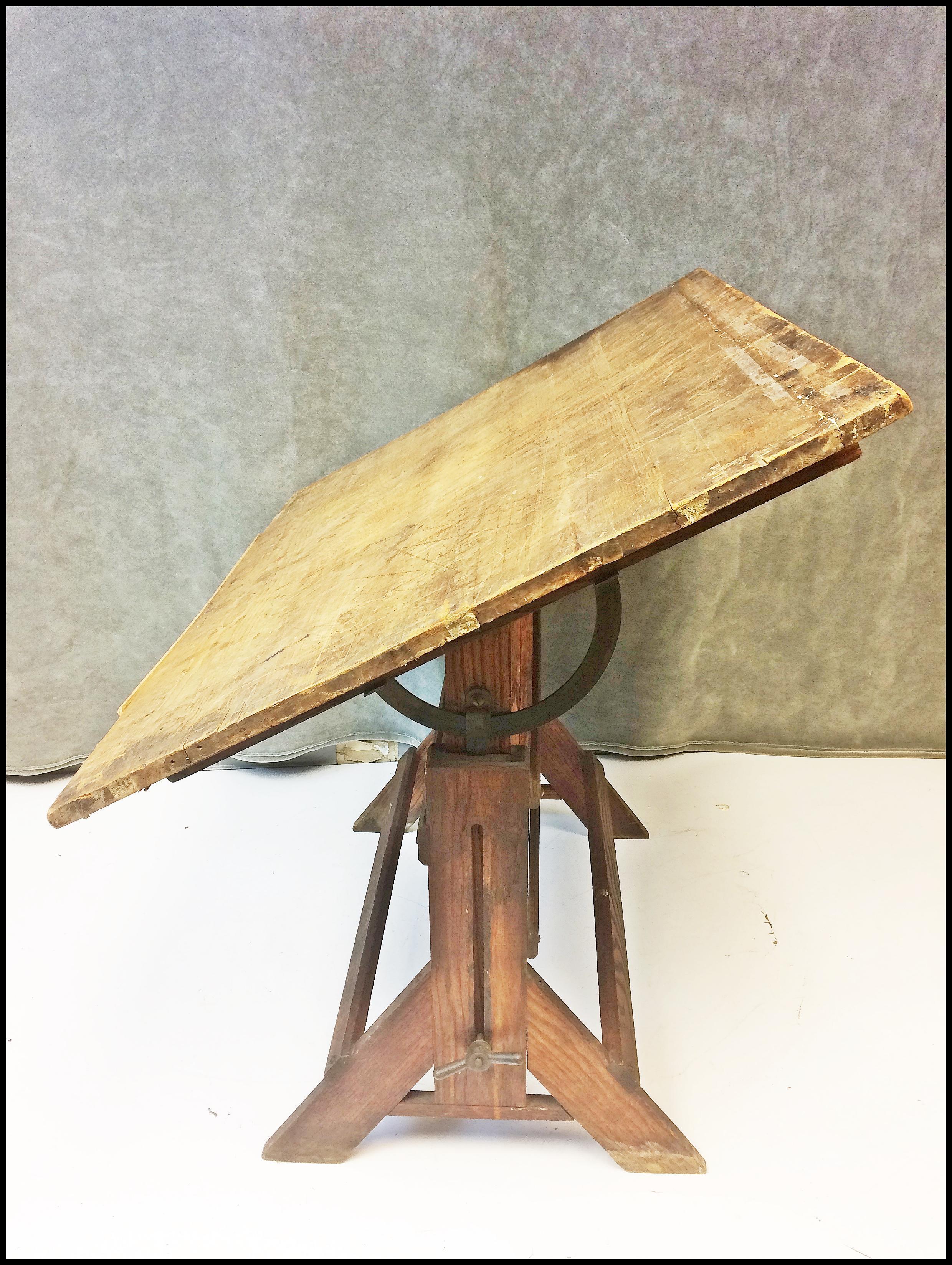 Vintage Industrial Tilting Wood Drafting Table   Image 4 Of 11