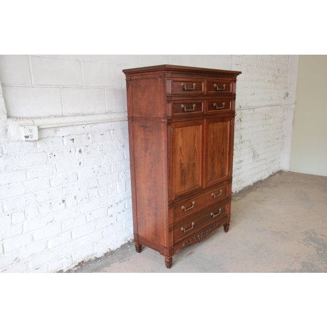 Baker Furniture French Regency Style Cherry Wood Armoire Dresser Chest For Sale - Image 5 of 11