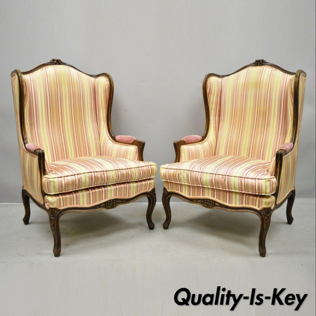 Vintage Mid Century French Louis XV Style Wingback Bergere Armchairs - A Pair For Sale - Image 12 of 12