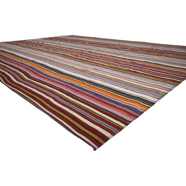Mid 20th Century Modern Style Vintage Turkish Jajim Kilim Flat-Weave Rug With Colorful Stripes For Sale - Image 5 of 6