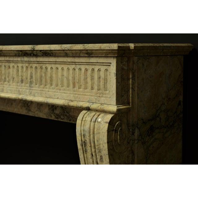 Louis XVI Antique Escallete Marble Louis XVI Fireplace Mantel - Free Shipping - For Sale - Image 3 of 9