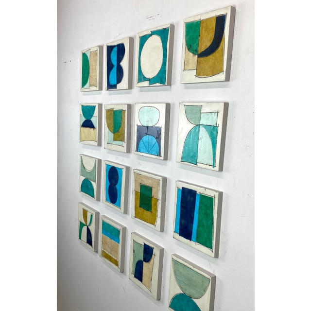 """""""Elsewhere"""" Original Encaustic Collage Installation by Gina Cochran - Blue and Teal - 16 Panels For Sale - Image 4 of 13"""
