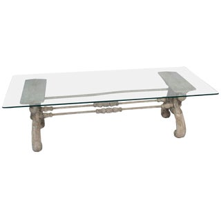 Painted Heavy Cast Iron Coffee Table W/Glass Top For Sale