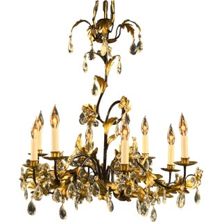 New Italian 8-Arm Chandelier Entwined Gold For Sale