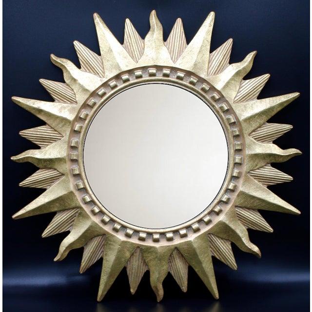 Vintage Golden Gilt Convex Sunburst Mirror For Sale - Image 11 of 11