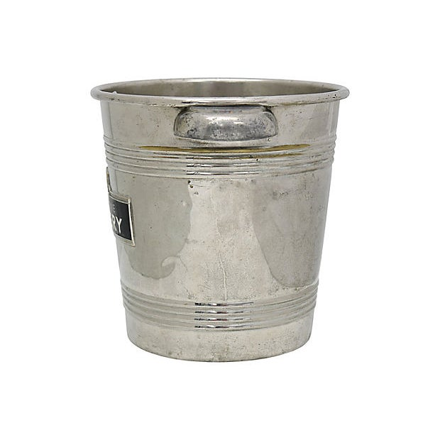 Mid-Century Pommery French Champagne bistro ice bucket. Raised logo with heavy enameling. No maker's mark. Wear and...