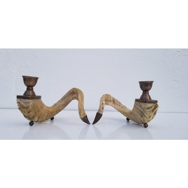 Chic pair of real ram's horns and silver plated bronze candle holders. Circa 1960s. In excellent condition with...