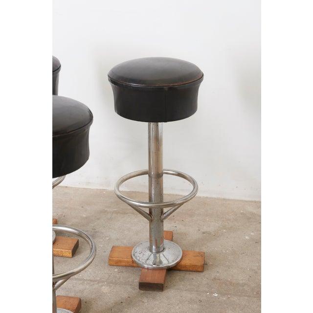 Mid-Century Modern Set of Five Belgium Revolving Barstools, 1960s For Sale - Image 3 of 11