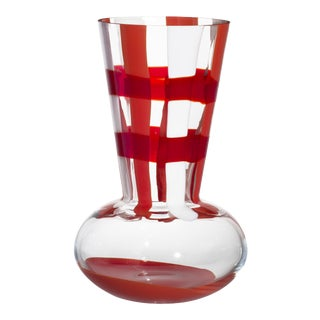 Carlo Moretti Troncosfera Vase in Orange, Ivory and Red For Sale