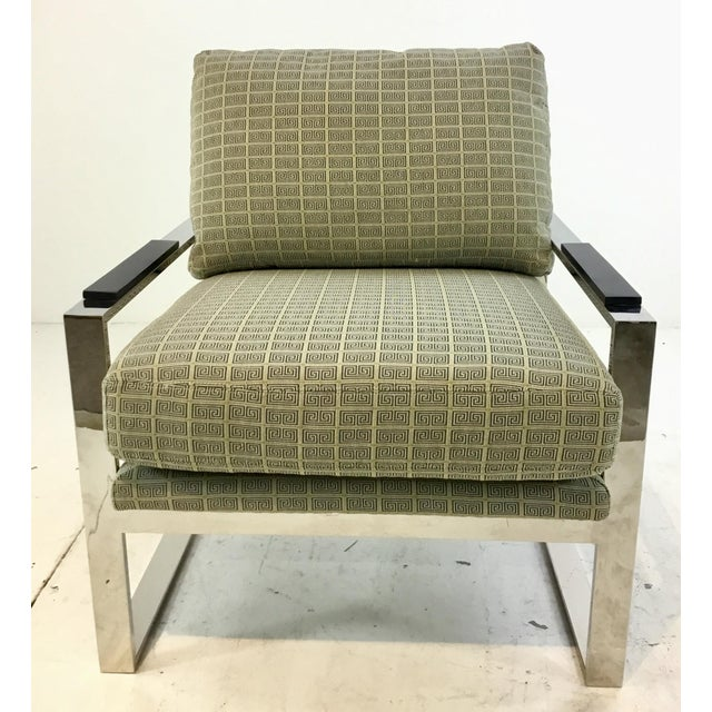 Stylish Mid-Century Modern Inspired Vanguard Greek Key and Chrome Chair and Ottoman Set, chrome are frames upholster in...
