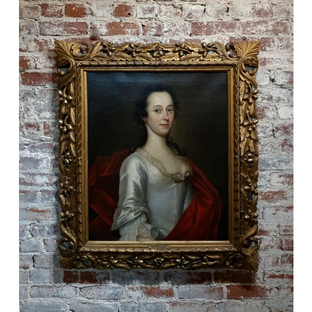 18th Century Portrait of an English Aristocratic Woman -Oil Painting For Sale - Image 10 of 10
