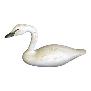 1989 Vintage Hand-Carved Swan Decoy, Signed For Sale