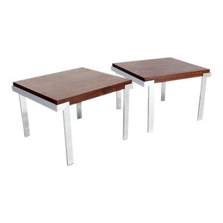 Pair of Baughman Rosewood and Chrome Mid-Century Modern End Tables For Sale