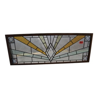 1970's Vintage English Art Deco Style Stained Glass Window For Sale