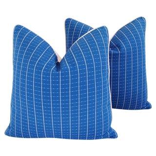 "Designer Coastal Blue/White Nautical Feather/Down Pillows 24"" Square - Pair For Sale"