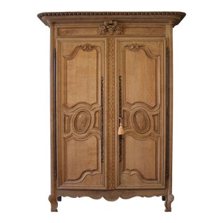 Early 19th Century Raw European Quarter Sawn White Oak Armoire Cabinet