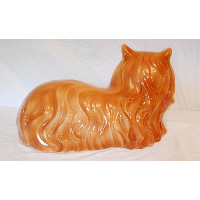 Shabby Chic Life Size Mid-Century Long Hair Tabby Cat For Sale - Image 3 of 5