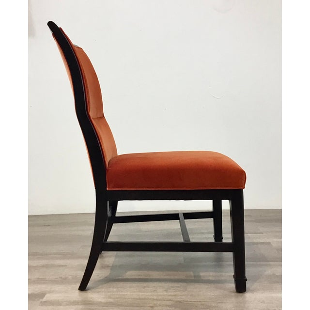 2010s Henredon Modern Orange Velvet Dining Chairs Set of Four For Sale - Image 5 of 7