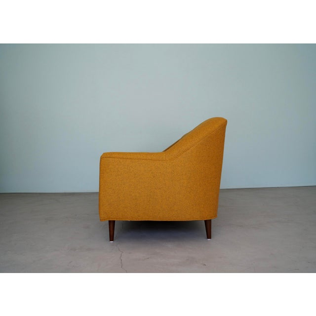 Burnt Orange Mid-Century Modern Sofa Reupholstered in Orange Wool For Sale - Image 8 of 13