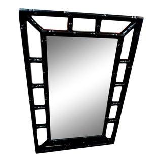 Black Rectangular Faux Bamboo Palm Beach Regency Wall Mirror For Sale