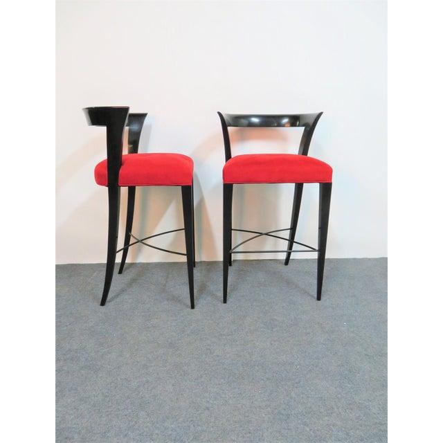 Mid-Century Modern Modern Design Custom Red Upholstered Lacquered Bar Stool Set of 3 For Sale - Image 3 of 8