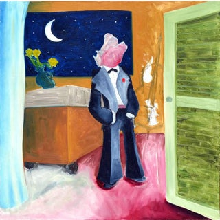At the Moon Wolf in a Tux Oil Painting For Sale